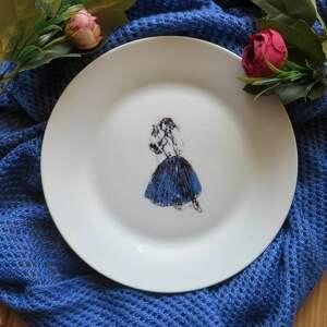 talerz baletnica, talerz, grafika, sztuka, porcelana, ceramika, nadruk ceramika dom