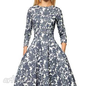 sukienka star 3 4 midi klaudia granat , sukienka, koło, midi, kieszenie
