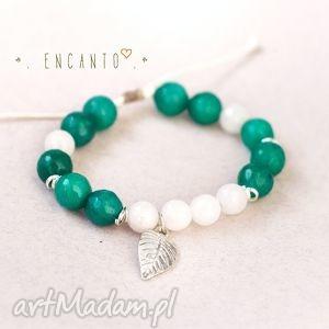 Emerald leaf, kamienie, naturalne, fasetowane, kule, jadeit, zawieszka