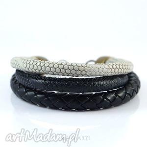 bransoletka - czarno, szara rzemienie, klasyczna, prosta, bransoletka, rzemienie