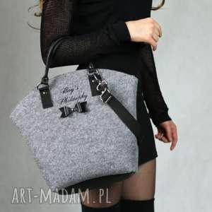 ręczne wykonanie torebki filcowa szara czarna torebka hobo bow