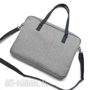 handmade pomysł na prezent święta torba laptop - szary metallic i granat