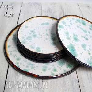handmade ceramika komplet talerzy, deserowy.