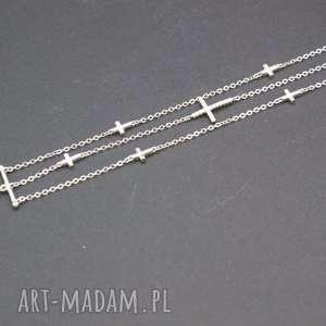 bransoletka srebrna potrójna krzyżyki, bransoletka, srebrna