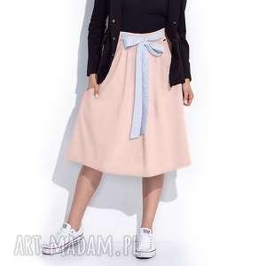 Różowa spódnica z kokardą w talii spódnice bien fashion midi,