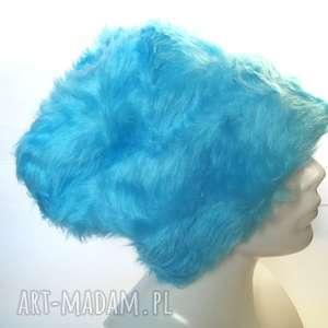 czapka damska futro niebieskie sztuczne, czapka, etno, boho, folk