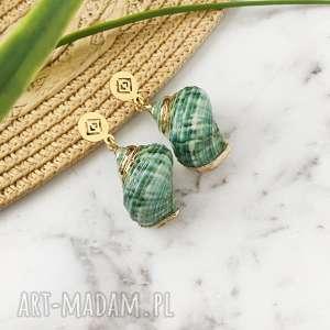kolczyki z muszelkami - zielone ślimaczki, muszelkam