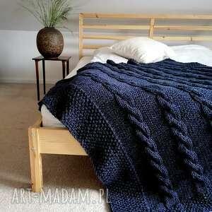 Granatowy pled koce i narzuty the wool art pled, koc, narzuta