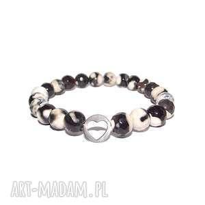Serce w pięknych kamieniach agatu, serduszko, love, celebrytka, agat, srebro, modna
