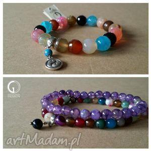 bransoletki bransoletka z kolorowego agatu, bransoletka, agat, zawieszka biżuteria