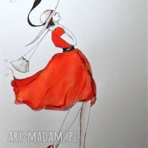 Akwarela i piórko SPACERUJĘ SOBIE artystki plastyka Adriany Laube, akwarela, kapelusz