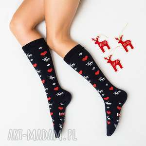 ciepłe skarpetki mad socks kolorowe serca zimowe - skarpetki, skarpety, prezent