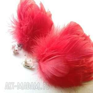 klipsy czerwone pióra, klipsy, etno, boho, wiszące, lekkie