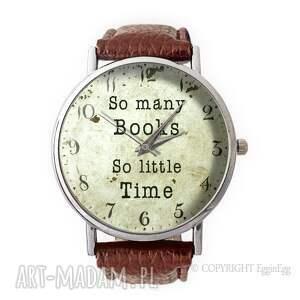 so many books - skórzany zegarek z dużą tarczą - many, books, zegarek
