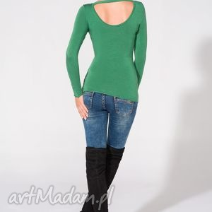 bluzki bluzka z odkrytymi plecami, t149, zielona, bluzka, dzianina, wiskoza
