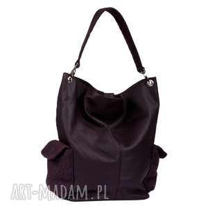 17-0010 Fioletowa torba damska worek / torebka na studia STORK, torebki-młodzieżowe