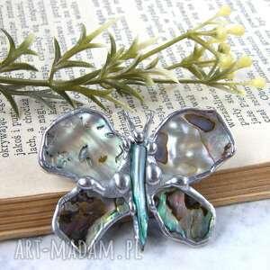 hand-made pomysł na świąteczny prezent broszka i wisiorek (2 w 1): motyl z tęczową