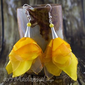 kolczyki silk żółte kwiaty, długie, duże, materiałowe, lekkie, wiosna