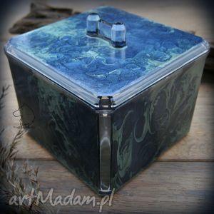 Ręcznie malowane plastikowe pudełko Wieczorna Mgła, pudełko, szkatułka, na, biżuterię