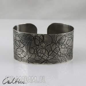 .Nitki - metalowa bransoletka, bransoleta, szeroka, metalowa, alpaka