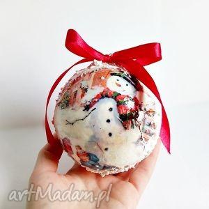 Bombka decoupage - zimowy krajobraz - ,bombki,dekoracje,święta,ozdoby,