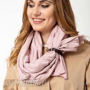 szaliki szal bawełniany z zapinką, szalik, chusta, apaszka pudrowy róż, bawełna