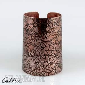 pajęczyna - miedziana bransoleta 210601-03, bransoletka, szeroka