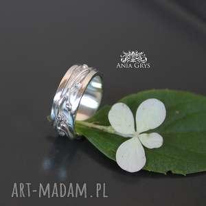 Anna Grys - obrączka organic - roślinna, srebrna liście, aniagrys gwiazdoo