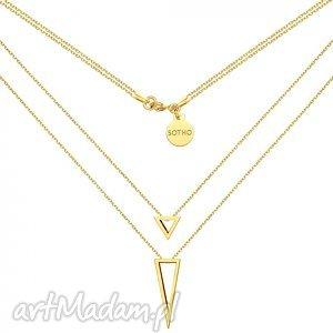 złoty podwójny naszyjnik z przestrzennymi trójkątami, modne, naszyjnik, trójkąty