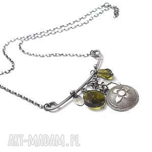 military vol 5 -naszyjnik, srebro, oksydowane, kwarc, metaloplastyka, militarny