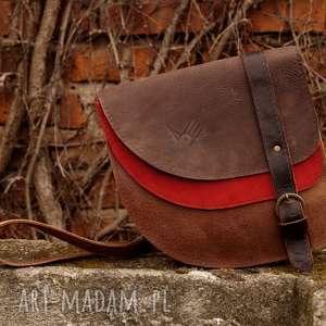 ARIA torebka skórzana brąz czerwień, skóra, naturalna, asymetryczna,