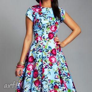 Sukienka APRIL Midi Pamela, sukienka, kwiaty, kwiecista, midi, rozkloszowana