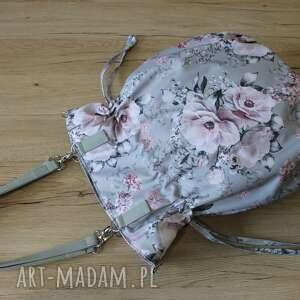 hand made na ramię shopper bag sack - kwiaty szarym tle