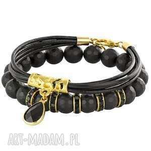 bransoletki black gold , onyks, kryształek, cyrkonie biżuteria