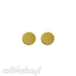 złote kolczyki zdobione karmy - złote kolczyki, różowe złoto