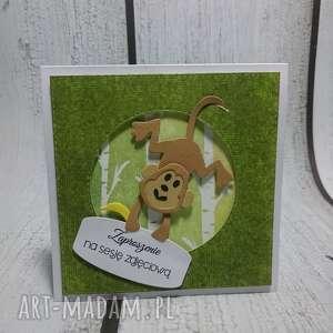 zaproszenie kartka z serii z małpką - sesja, małpka, zaproszenie, urodziny
