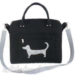 Black chest & dog on pocket - ,torebka,kuferek,piesek,