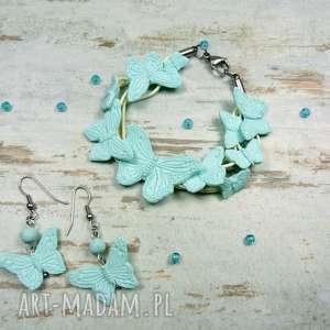 komplety motyle - komplet biżuterii w miętowym odcieniu, motyle, mięta, lato, prezent