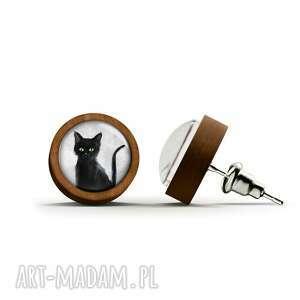 kolczyki drewniane - czarny kot sztyfty, kolczyki