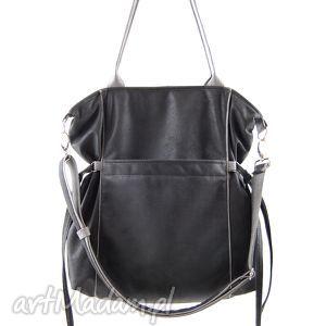 na ramię amber - duża torba shopper antracyt i szarość, trendy, prezent