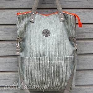 na ramię torebka damska cube miętowa jodełka, manamana, kieszenie, duża torebki