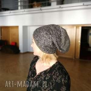 czapki czapka damska szara melanż zimowa, czapka, wełna, ciepła