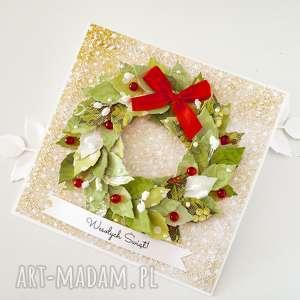 kartka świąteczna z wiankiem 2, kartka, życzenia, bożonarodzeniowe, święta