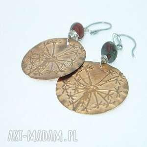 miedziane kolczyki z agatem, dmuchawce, miedzi, unikatowa biżuteria