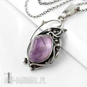 miechunka lawendowy amulet - naszyjnik srebrny z ametrynem, amulet srebro