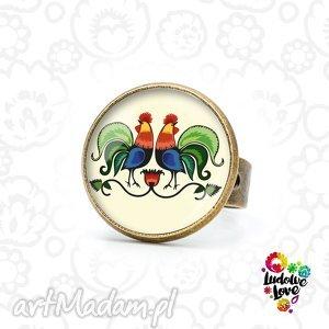 pierścionek koguty, ludowe, polskie, wzory, folk, prezent, łowickie