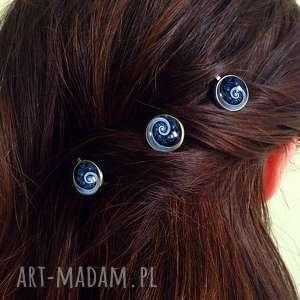 ręcznie wykonane ozdoby do włosów niebieska spirala - 3 wsuwki do włosów