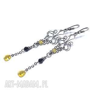 kandelabry /yellow/- kolczyki, srebro, oksydowane, swarovski, onyks, łańcuszki