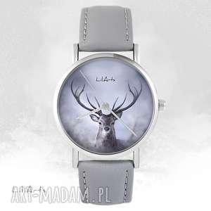 zegarek - jeleń szary, skórzany, zegarek, bransoletka