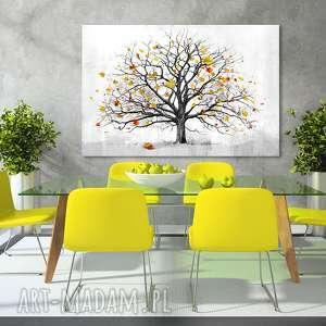 nowoczesny obraz do salonu drukowany na płótnie z drzewem, jesienne drzewo, duży format